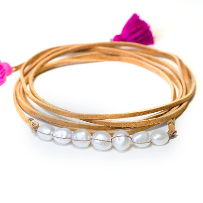 7 Large white Pearl and leather Multi wrap