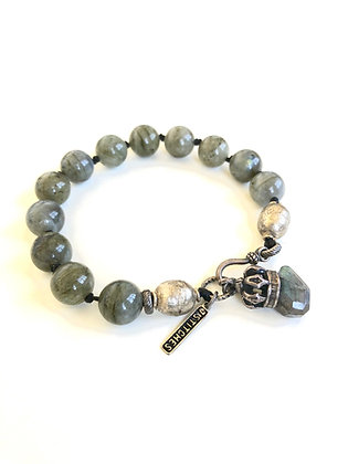 10mm Labradorite and Ethiopian trade beads Bracelet