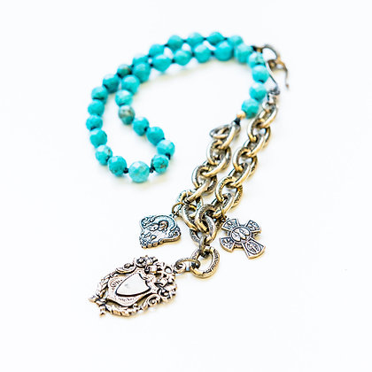Turquoise Statement Necklace with charms