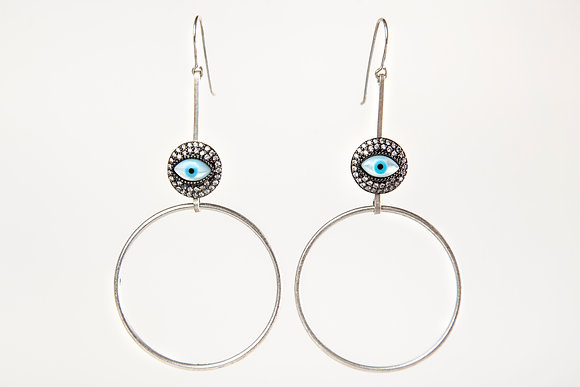 Silver hoop and EvilEye Earring