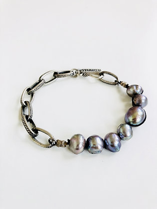 Chunky Pearls and vintage chain bracelet