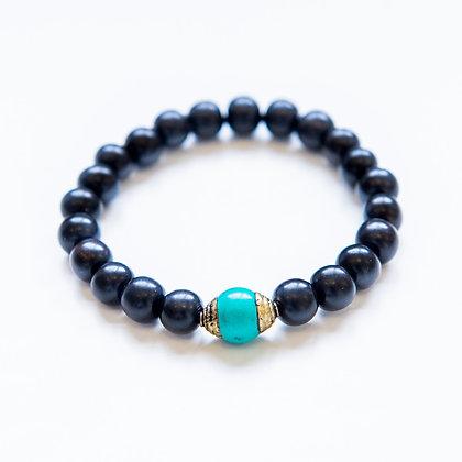Ebony Wood and Turquoise Bracelet