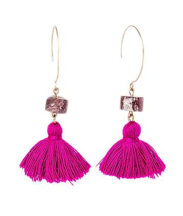 Strawberry Quartz and tassel earrings
