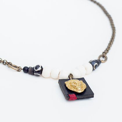 Brass Lion Head on Leather Necklace