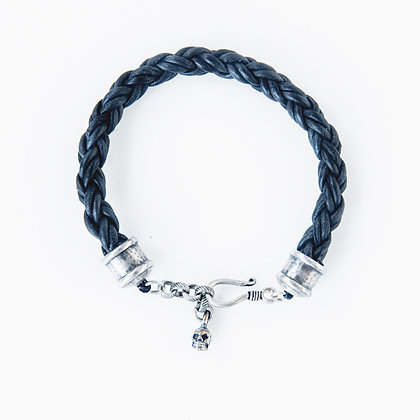 Mens Leather braided bracelet with Silver Skull