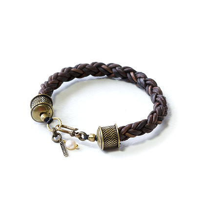 Braided Brown Leather and Bronze hardware