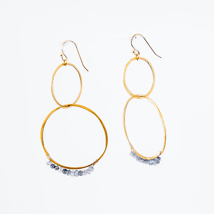Stone wrapped earrings on Gold hoops