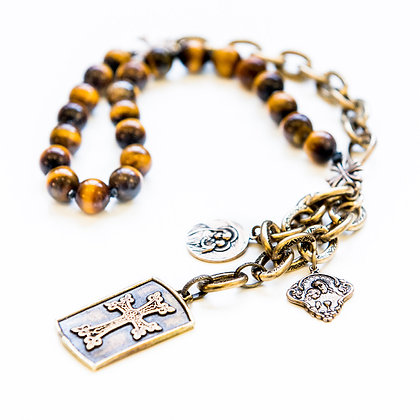 Tiger Eye Statement Necklace with charms