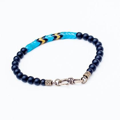 Mens Black Onyx and Snake Bead Bracelet (Aqua)