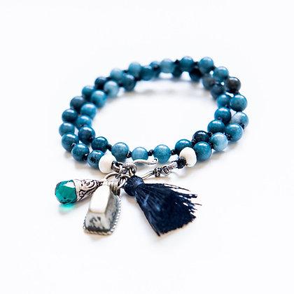 Double Wrap Blue Jade stone Bracelet