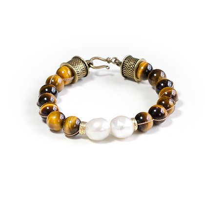 Tigereye and Pearl with Bronze hardware bracelet