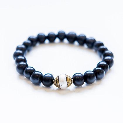 Ebony Wood and Pearl Bracelet
