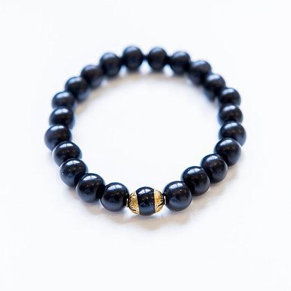 Ebony Wood and Onyx Bracelet