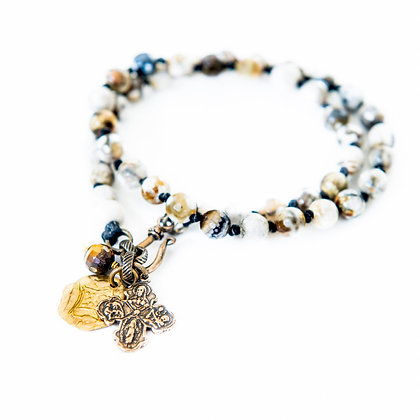 Agate double wrap bracelet with brass cross detail