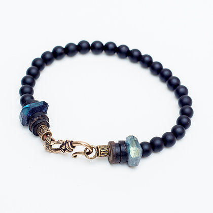 Onyx and Labrodite Nugget Bracelet