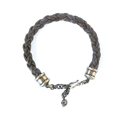 Mens Leather braided bracelet with Brass hardware
