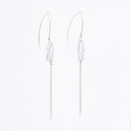 Silver Marquise hook and long pearl