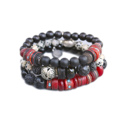 Mens Bracelet Stack with Onyx and Mala Beads