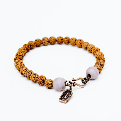 Men's Lava Bracelet with Buddha Charm