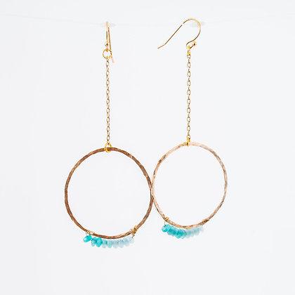 Stone wrapped earrings on Gold hoop