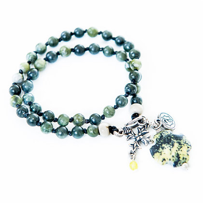Double wrap Jade bracelet with bone and Charm