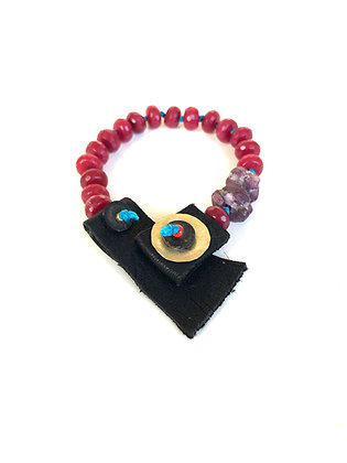 Raw Ruby and leather bracelet