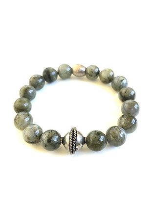 Labradorite and Silver handmade bead Bracelet