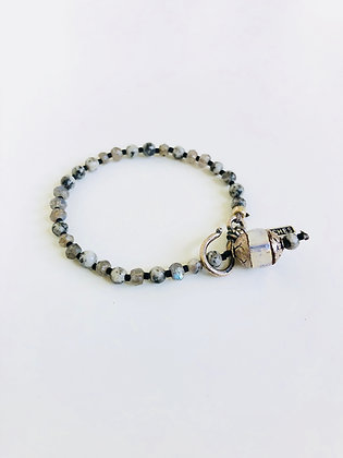 Faceted Laboradite Dalmatian Jasper bracelet