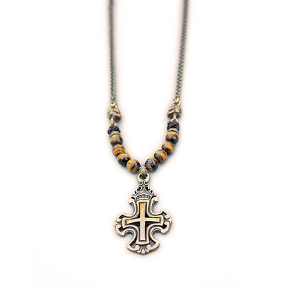 Brass Skull, Cross and TigerEye Necklace