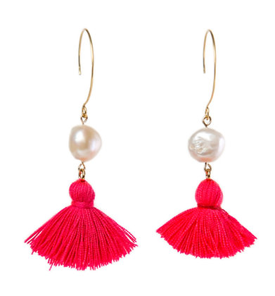 Round Pearl and Tassel Earrings