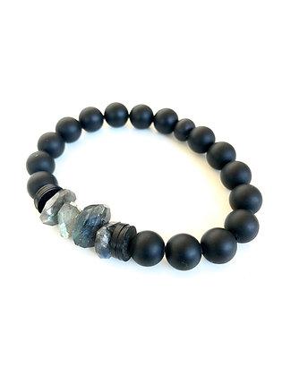 Onyx and Labradorite Nugget Bracelet