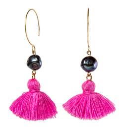 Dark Pearl and tassel earring
