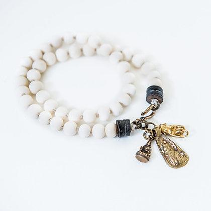Double wrap bone bracelet with charms