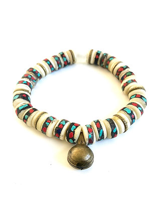 Vintage Mala Bracelet with African bell