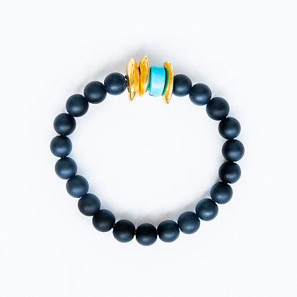 Onyx with Turquoise Bracelet
