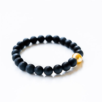 Onyx and Gold Ball Bracelet