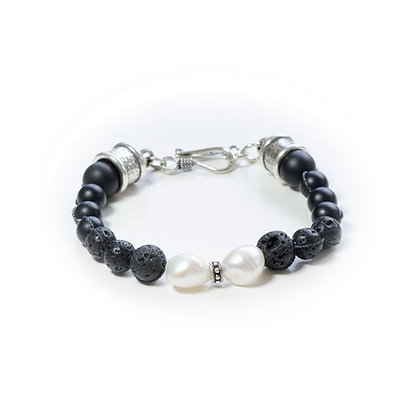 Onyx, Lava and Pearl Mens Bracelet