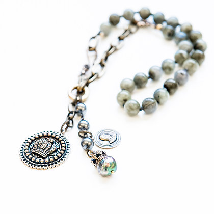 Hand knotted Labradorite statement necklace+Charms
