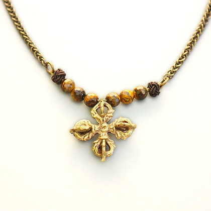 Tiger Eye and Buddhist Cross Necklace