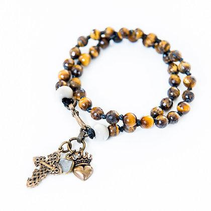 Double wrap tiger-eye bracelet with bone and brass