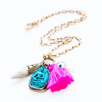 Om with Buddha and Evil Eye Necklace