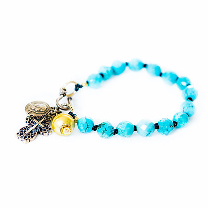 Faceted Turquoise and Pearl detail Bracelet