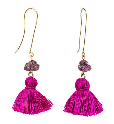 Raw Ruby and tassel earrings