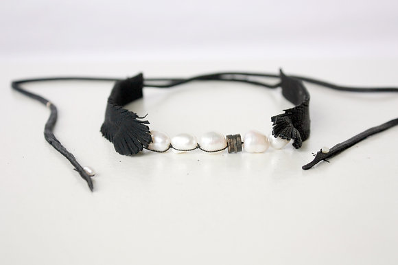 Black Leather choker with hand sewn pearls