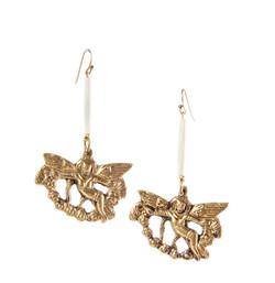 Brass and bone earrings