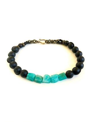 Amazonite and Onyx bracelet