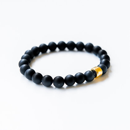 Onyx and Gold Barrel Bracelet