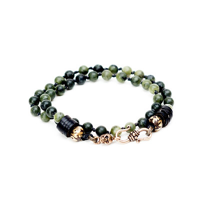 Men's Jade Wrap Bracelet with Skull