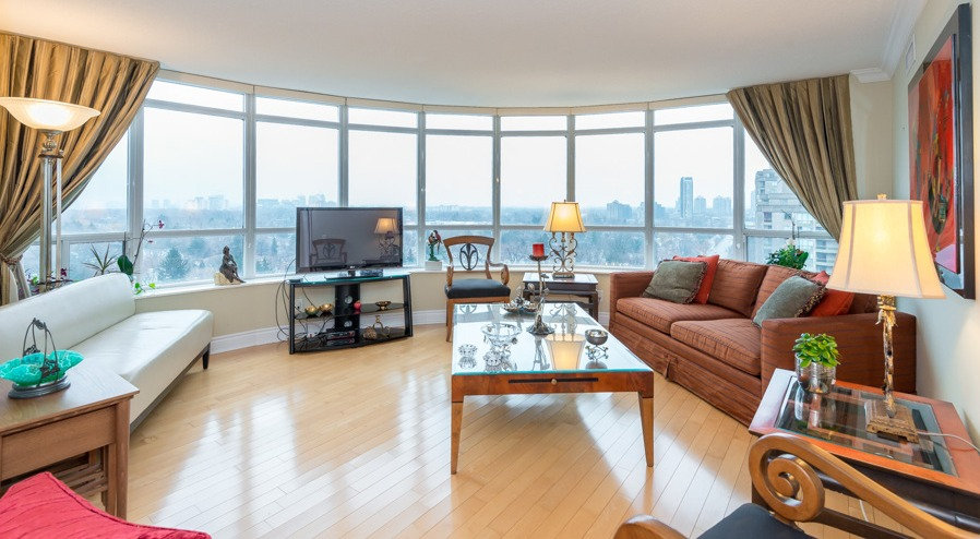 staged living area in Toronto condo