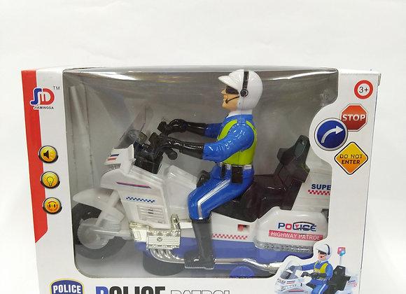 אופנוע משטרה עם אורות וצלילים